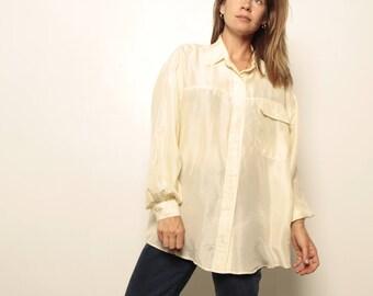 SILK 90s SHEER oversize slouchy CREAM white blouse