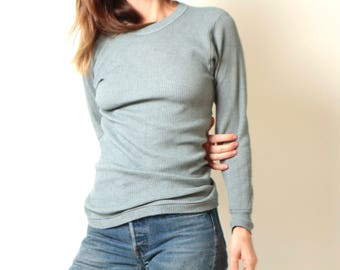 vintage Heather SAGE blue mint long sleeve THERMAL t-shirt