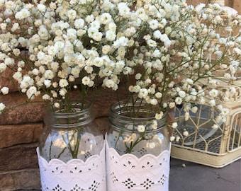Mason Jar Wraps, READY to SHIP, Set of TWO, Ivory Lace Mason Jar Decoration, Baby Shower, Party,  Wedding Decoration