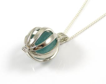 Rare Turquoise Sea Glass Gem in a Swirl Locket Necklace, Silver Plated Pendant, Swirl Cage Locket, Sea Glass Jewellery, The Strandline