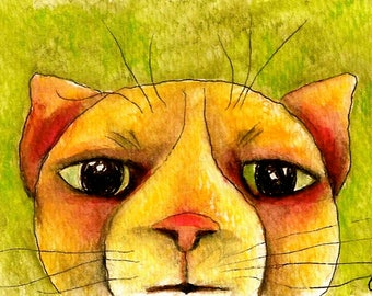 Orange Cat-ACEO- Colorful & Whimsical Giclee Animal Art Print by SQ Streater
