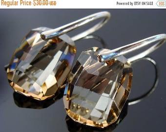 Swarovski Crystal Golden Shadow Sterling Silver Earrings