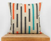 16x16 decorative throw pillow case | Hand printed graphic and geometric striped cushion cover in gray, orange, turquoise and natural beige