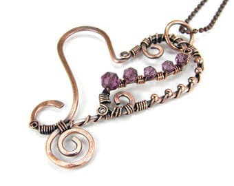 Wire Wrap Copper and Amethyst Heart Pendant Necklace, Antiqued Patina, Hammered Copper Heart Necklace