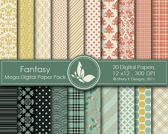 40% off Fantasy Mega Paper Pack - 20 Digital papers - 12 x12 - 300 DPI