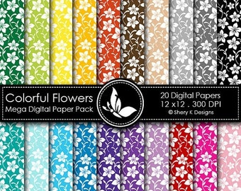 40% off Colorful Flowers Mega Paper Pack - 20 Printable Digital papers - 12 x12 - 300 DPI
