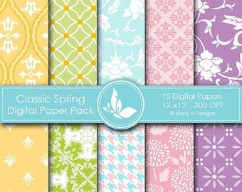 40% off Classic Spring Paper Pack - 10 printable Digital Scrapbooking papers - 12 x12 - 300 DPI