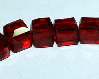 20 pcs 4mm Faceted Transparent Red Glass Cube Beads