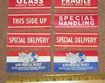 Lot of Vintage Postal Labels Gummed Special Delivery Fragile Air Parcel Post