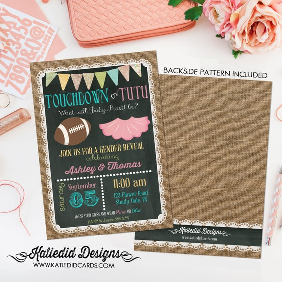 touchdowns or tutus gender reveal baby shower invitation surprise birthday rustic chic lace burlap two moms dads lunch 1431 Katiedid Designs