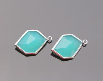 Jewelry Supplies, Silver Mint Unique Glass Drop Pendant, Blue Glass Stone, 2 pc, JW7134