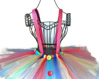Clown Tutu-Rainbow-Tutu-Suspenders-Birhtday-Princess-Bachlorette-Holiday-Recital-Clown