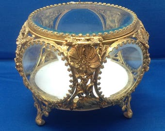 Vintage Repousse Ormulo Jewel Box Jewelry Casket Trinket Box Beveled Glass  FREE SHIPPING