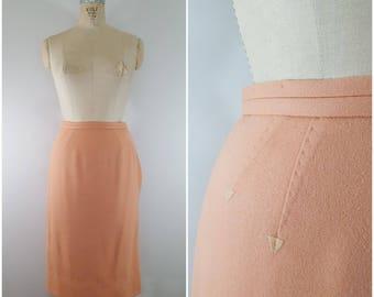 Vintage 1950s Dalton Wool Skirt / Peach Wool / Wiggle Skirt / Fitted Skirt / Small Medium