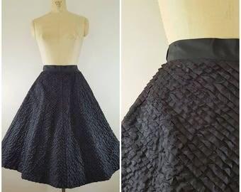 Vintage 1950s Black Taffeta Skirt / Diagonal Layers / Small