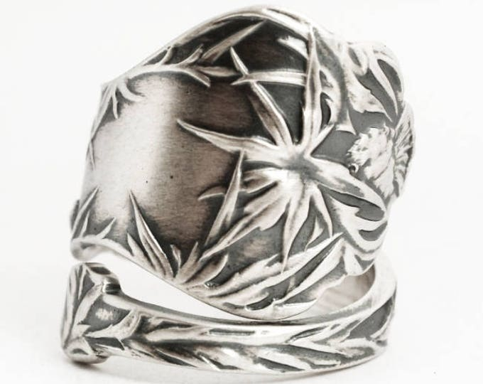 Vintage Scottish Thistle Ring, Thistle Jewelry, Spoon Ring Sterling Silver, Handmade Ring, Adjustable Ring Size, Nature Inspired Ring (6911)