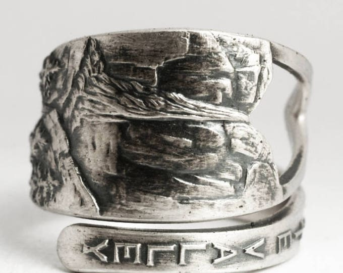 Yosemite National Park, Yosemite Falls, Sterling Silver Spoon Ring, Waterfall Art, Unique Gift, Handmade Ring, Adjustable Ring Size (6932)