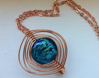 Copper Wire Wrapped Blue Blown Glass Pendant / Gift For Her / Copper Jewelry
