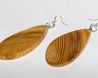 Earrings, silver, wood