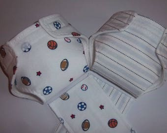 Baby Doll Diaper/wipe - Combo Set - sports ball, stripes  - adjustable for many dolls such as bitty baby