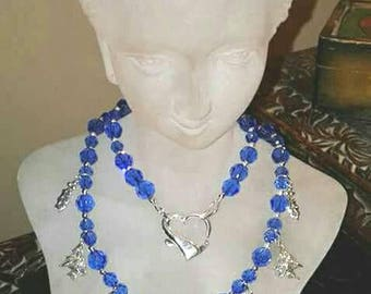 Swarovski crystal & Sterling Silver Dancing Sapphires on Christmas Eve Charm Necklace w/Earrings