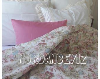 shabby chic Bedding duvet cover pastel pink blue damson roses floral stripe print Twin Queen super king oversized duvet cover Nurdanceyiz