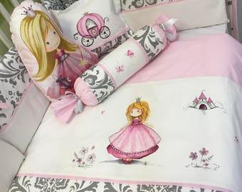 baby girl bedding set ,grey,pink,princess