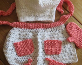 5 Piece Pink and White Crochet Chef Set-Apron, Hat, Mitt and Oven Mitts