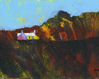 Original moorland cottage painting by Paul Bailey: Grib coch llai