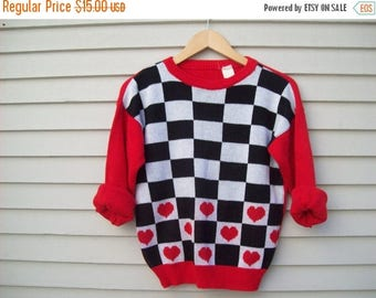 Birthday Sale Vintage 80's Heart And checkerboard Sweater Retro Pullover Size XS-Small