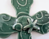 Wall Cross // Green Ceramic Cross // Hanging Wall Cross Seashells // Small Wall Cross // Christian Gift