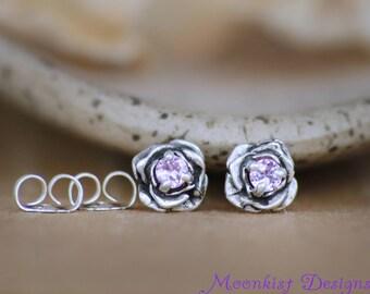 Pink Sapphire Stud Earrings - Sterling Silver Rose Earrings - Solitaire Earrings - Everyday Earrings - Flower Stud Earrings - Pink Studs
