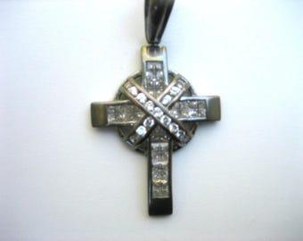 Vintage Silver-tone & Clear Rhinestone Cross Pendant