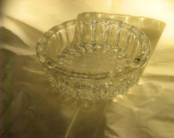 Vintage KIG INDONESIA Clear Glass Round Ashtray w/ Ornate Design