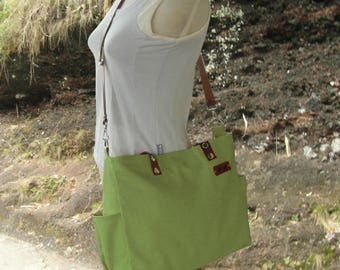 Grass green tote bag with leather name tag, leather strap messenger bag, double - purpose bag for men and women,