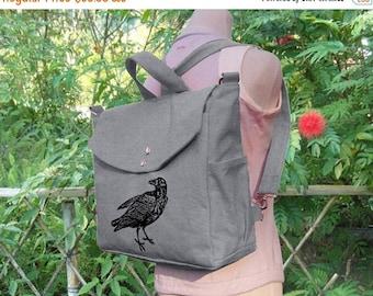 On Sale 20% off Gray canvas backpack, raven screenprinted backpack, canvas messenger bag, travel bag, hand bag, shoulder bag