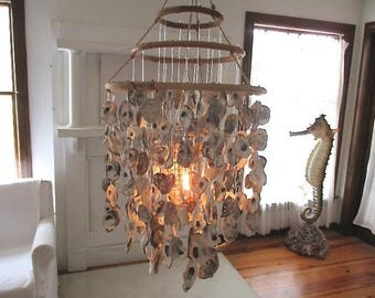 Oyster Shell Chandelier Lamp, Electric, Bamboo