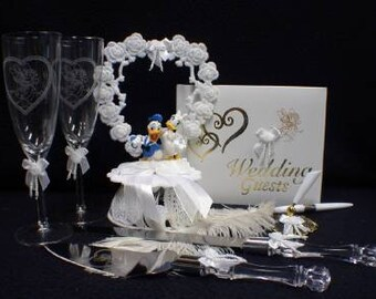 Disney Little Mermaid Wedding Cake Topper Lot Glasses Knife