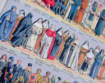 Antique Print Religious Costumes clothing vestments habits attire clothes  hats Worldwide French Larousse 1923 color