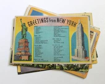 10 Vintage New York City Postcards Used