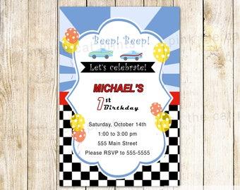 Car Invitation - Car Race Invitation Boy Race Invitation Car Party Invitation Car Theme Race Party Race Theme Printable Car Invite