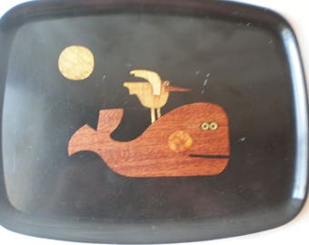 Vintage Couroc Whale with Seagull Friend Tray