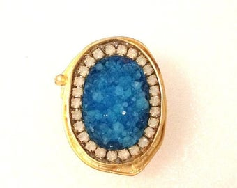 Summer SALE Gorgeous Blue Druzy and white opal crystals gold ring