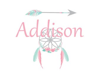 Dream Catcher Wall Decal with Custom Name-Bohemian Wall Art, boho wall decal, arrow wall decal, feather decal-Reusable wall decal