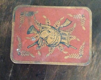 Antique Tole Tin French Hand Painted Box