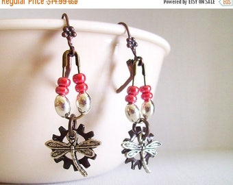 SALE Industrial Dragonfly Earrings,Pink and brown with silver Insect dangle Chandelier Earrings, Gift For Mom, Steampunk, Bug