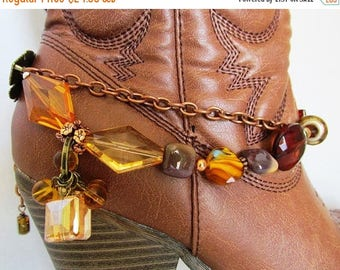 SALE Shabby Chic and girly BOOT JEWELRY for wearing as dressy formal wear for your boots with brown gold and copper chains