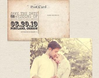 Vintage Save The Date Postcard // Printable PDF