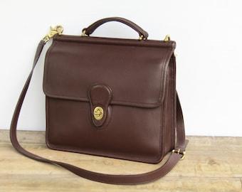 Vintage Coach Bag Messenger • Coach Leather Bag in Mahogany Leather Satchel • Coach Willis 9927