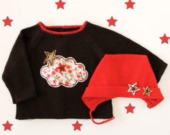 ON SALE Knitted sweater and cap. Brown red. Felt cloud and stars. 100% merino wool. READY To Ship size 1-3 Months.